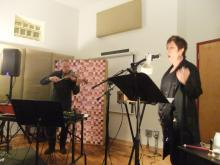 "Shawn Decker and Lynn Book performing ""The Phaedra Escapes"" at the Experimental Sound Studio in Chicago."