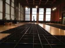 "Shawn Decker's ""Prairie"" being installed at the Chicago Cultural Center"